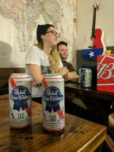Chilling, drinking PBR. Ashley, seen in background, is a fellow Torontonian.
